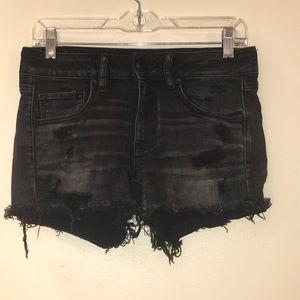 American Eagle Black Ripped Jean Shorts